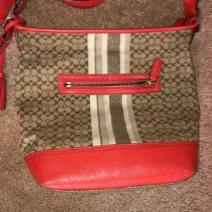 Coach crossbody Shoulder bag canvas leather EUC